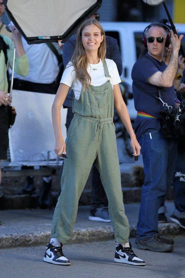 Josephine Skriver in Green Overalls: On Maybelline Photoshoot -01