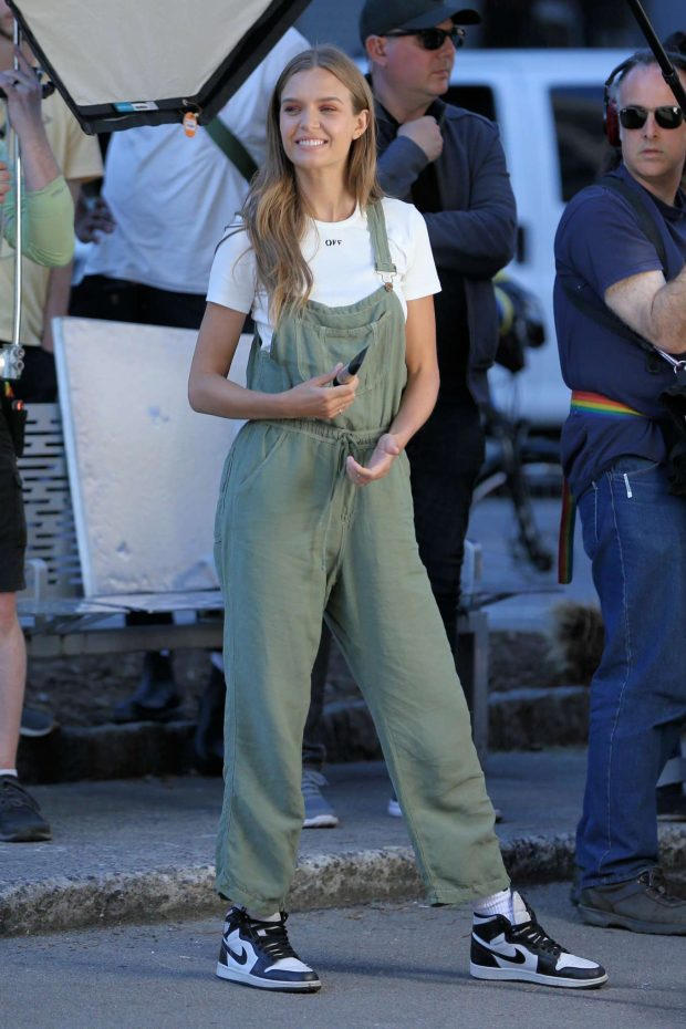 Josephine Skriver in Green Overalls - On Maybelline Photoshoot in New York City