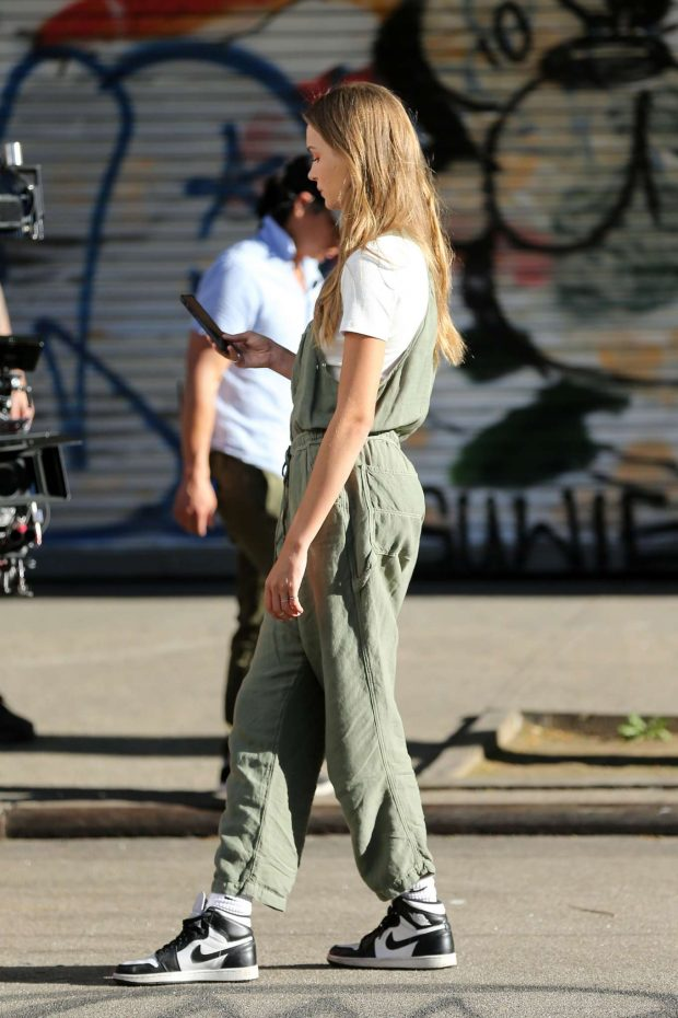 Josephine Skriver in Green Overalls: On Maybelline Photoshoot -04