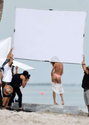 Josephine Skriver in Pink Bikini Photoshoot on the beach in Miami Pic 33 of 35