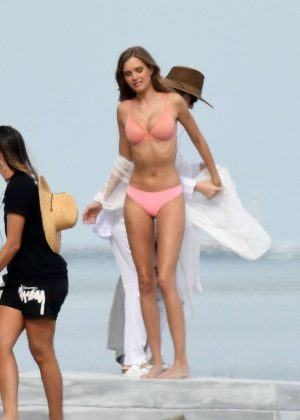 Josephine Skriver in Pink Bikini Photoshoot on the beach in Miami Pic 9 of 35