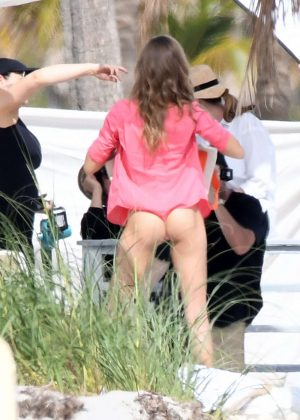 Josephine Skriver in Pink Bikini Photoshoot on the beach in Miami Pic 12 of 35