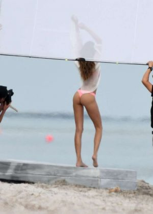Josephine Skriver in Pink Bikini Photoshoot on the beach in Miami Pic 15 of 35