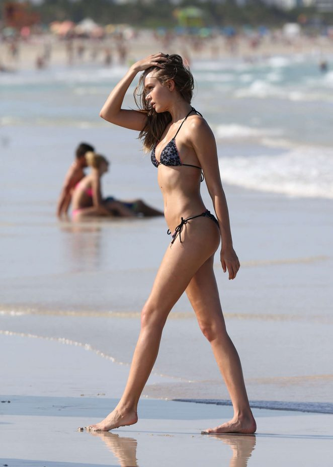 Josephine Skriver in Pink Bikini Photoshoot on the beach in Miami Pic 20 of 35