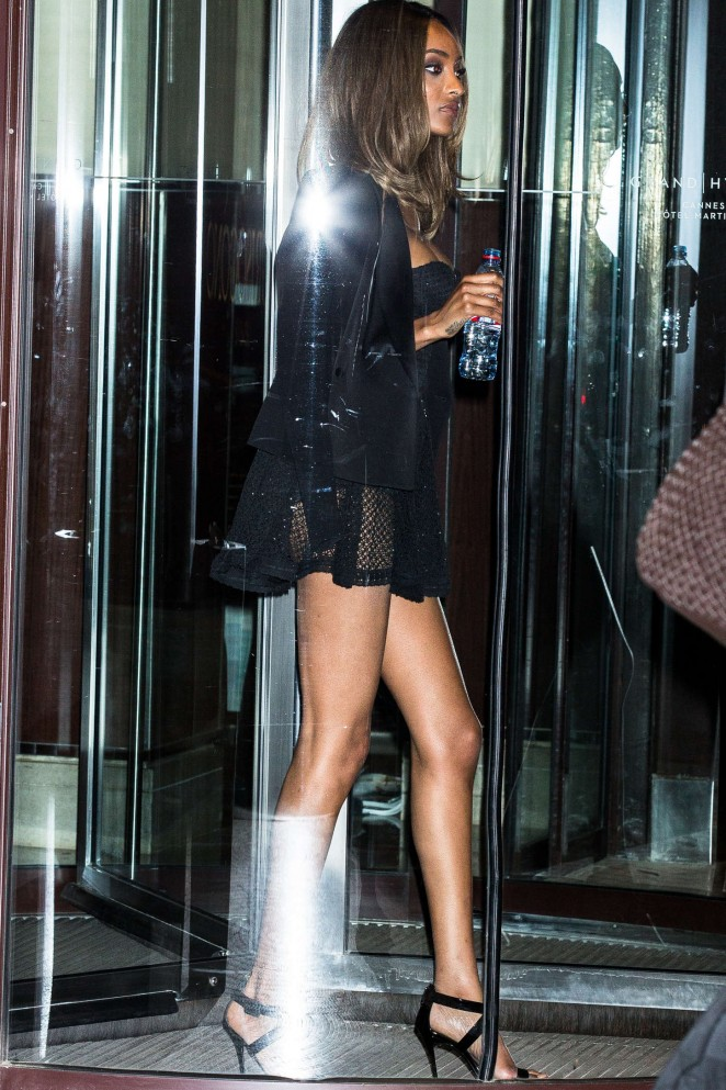 Jourdan Dunn in Short Dress at Hotel Martinez in Cannes