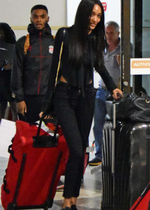 Jourdan Dunn at the airport in Barbados