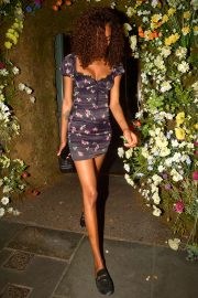 Jourdan Dunn in Mini Dress - Leaving the Ivy Chelsea in London