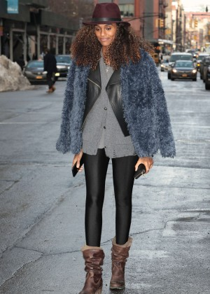 Jourdan Dunn in Tights out in Tribeca New York