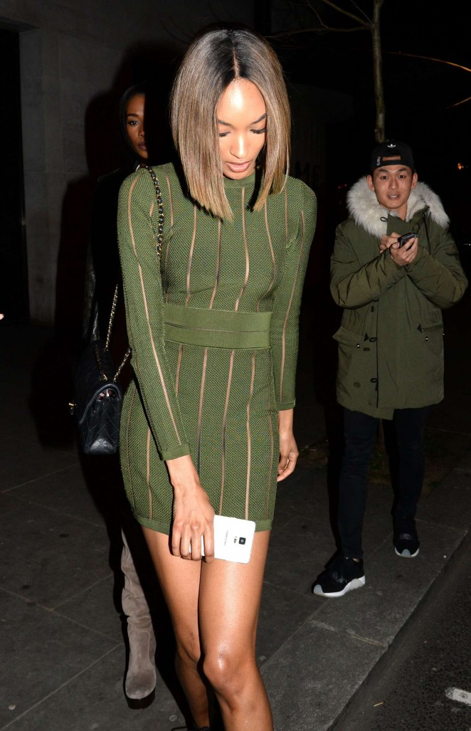Jourdan Dunn in Green Mini Dress at Toy Room in London
