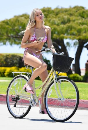Joy Corrigan - Bike ride in a pink swimsuit and Gucci heels in Los Angeles