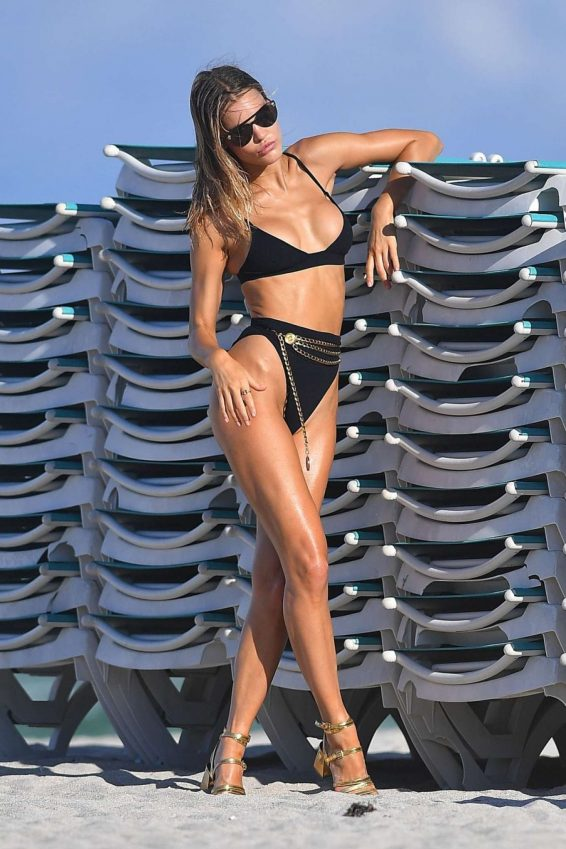 Joy Corrigan in Black Bikini Photoshoot in Miami Beach