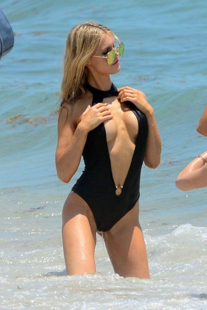 Joy Corrigan in Black Swimsuit 2017 -02