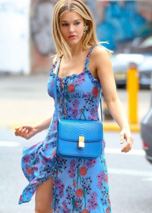 Joy Corrigan in Blue Dress - On the set of a Photoshoot in New York