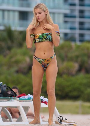 Joy Corrigan in Green Bikini at the beach in Miami