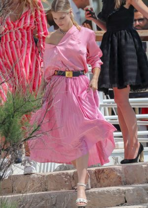 Joy Corrigan in Pink Dress at Eden Roc Hotel in Cannes