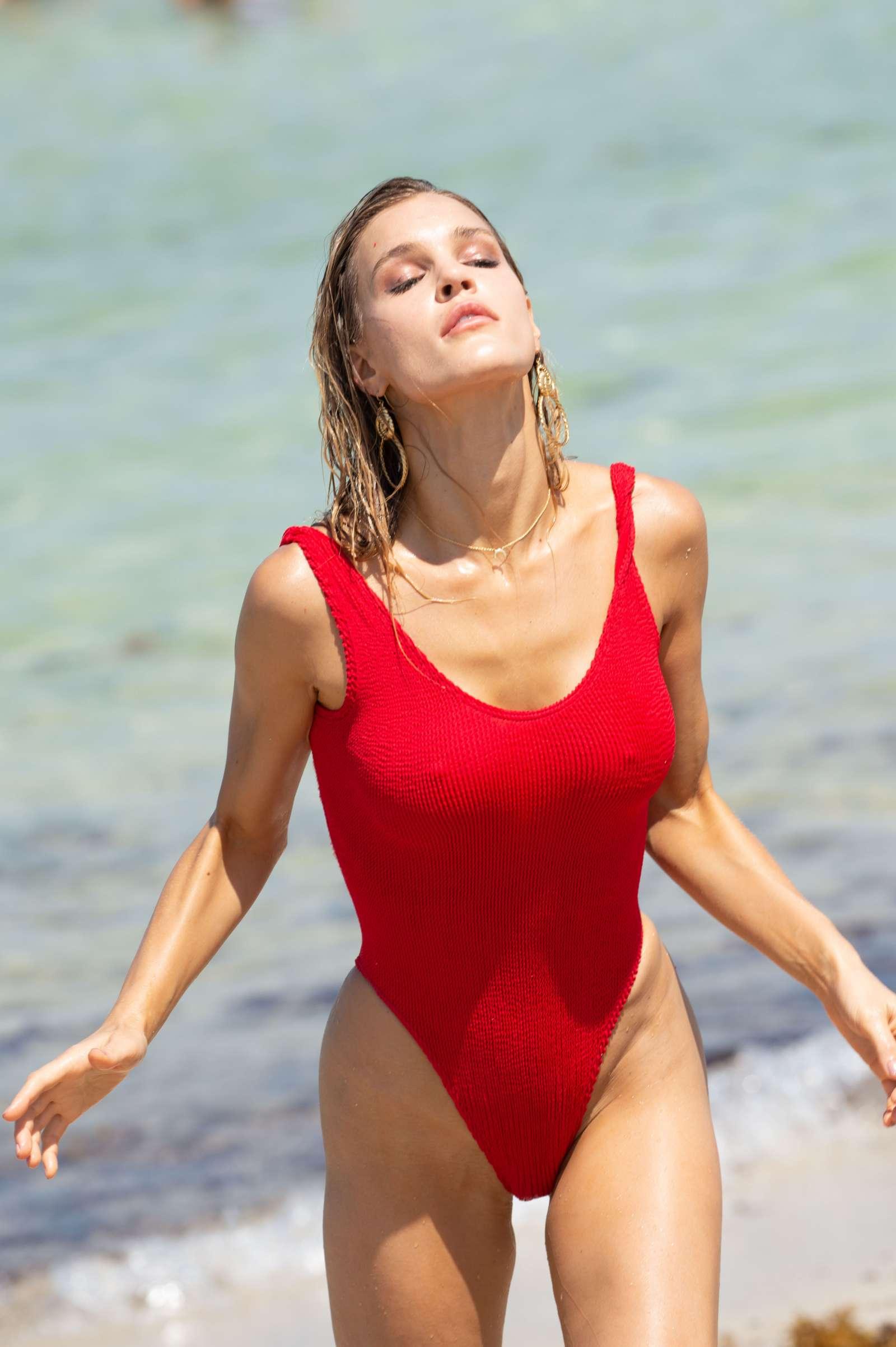 Joy Corrigan in Swimsuit - Photoshoot on Miami Beach