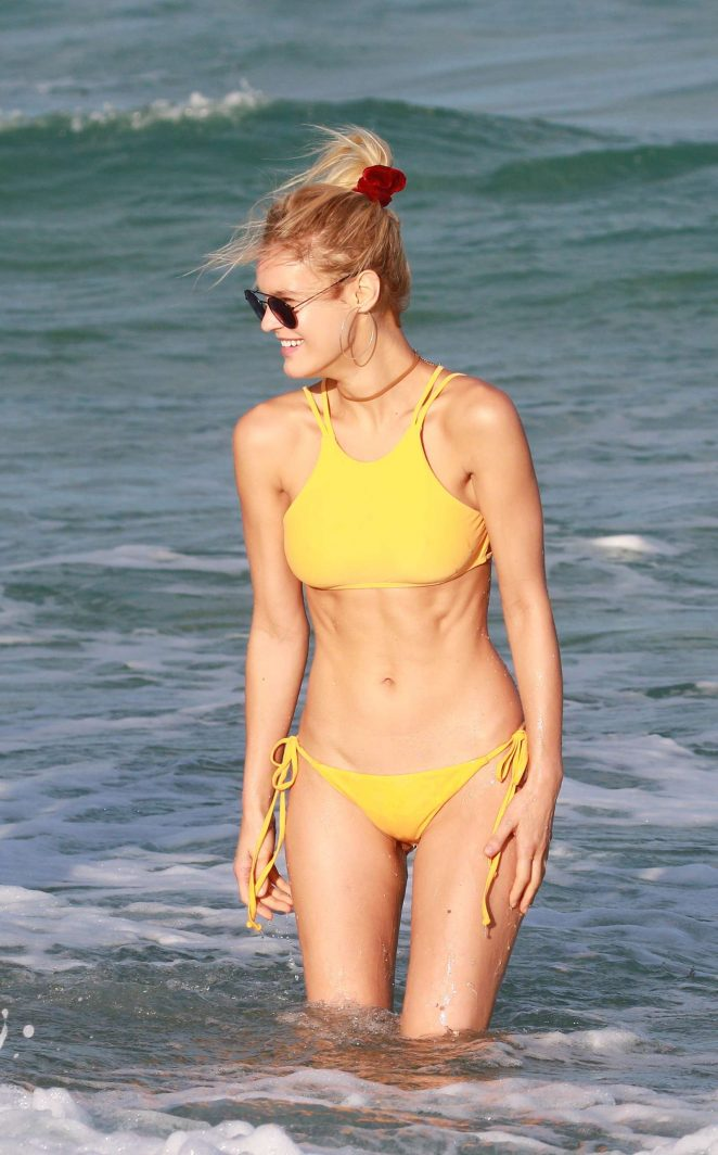 Joy Corrigan in Yellow Bikini on the beach in Miami
