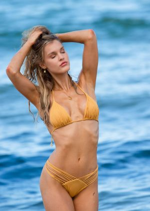 Joy Corrigan in Yellow Bikini - Photoshoot on Miami Beach