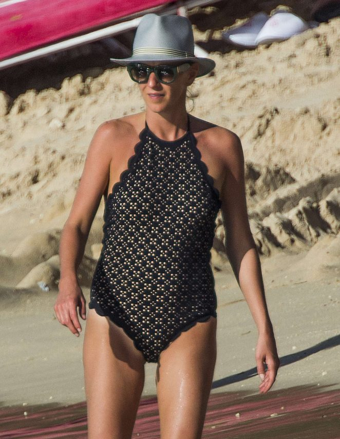 Julia Carey in Swimsuit on the beach in Barbados