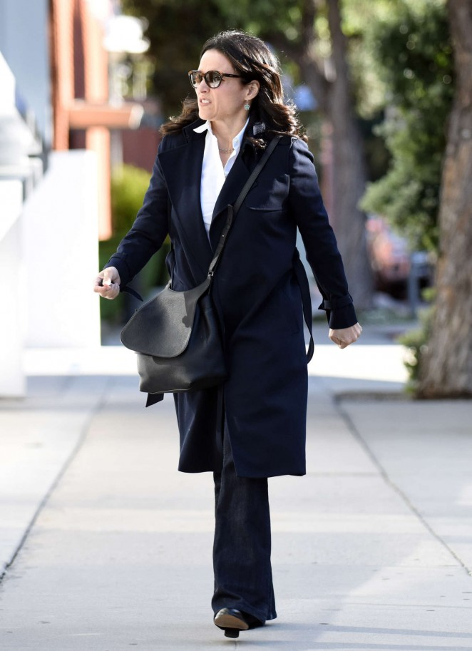 Julia Louis Dreyfus in Black Coat out in Los Angeles