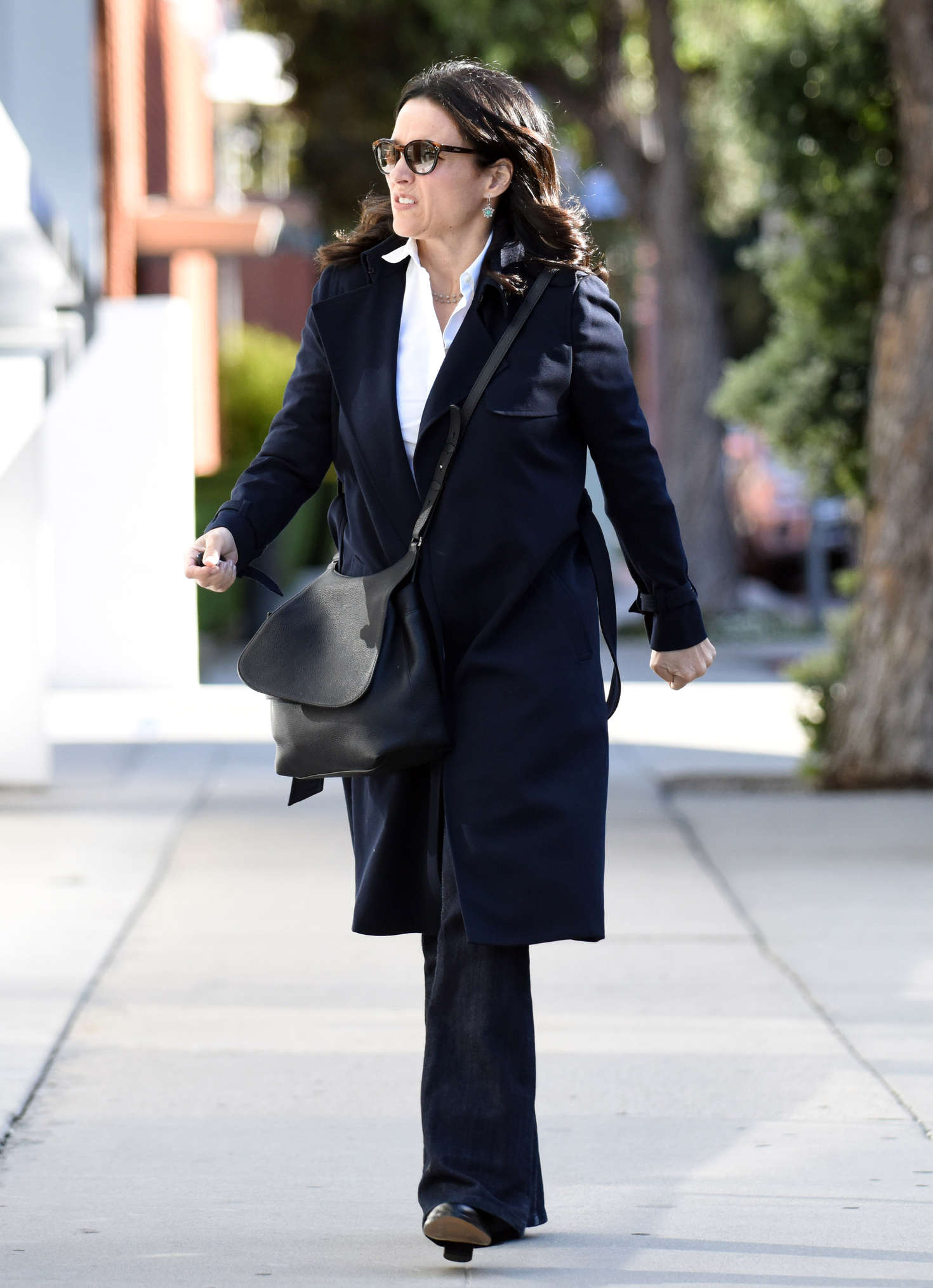 Julia Louis Dreyfus in Black Coat out in Los Angeles