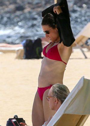 Julia Louis-Dreyfus in Red Bikini at the beach on the island of Lanai