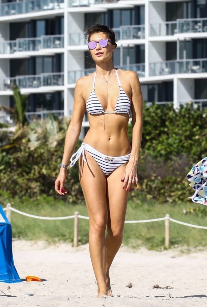 Julia Pereira in Bikini and Swimsuit on the beach in Miami