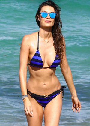 Julia Pereira in Blue Bikini at the beach in Miami
