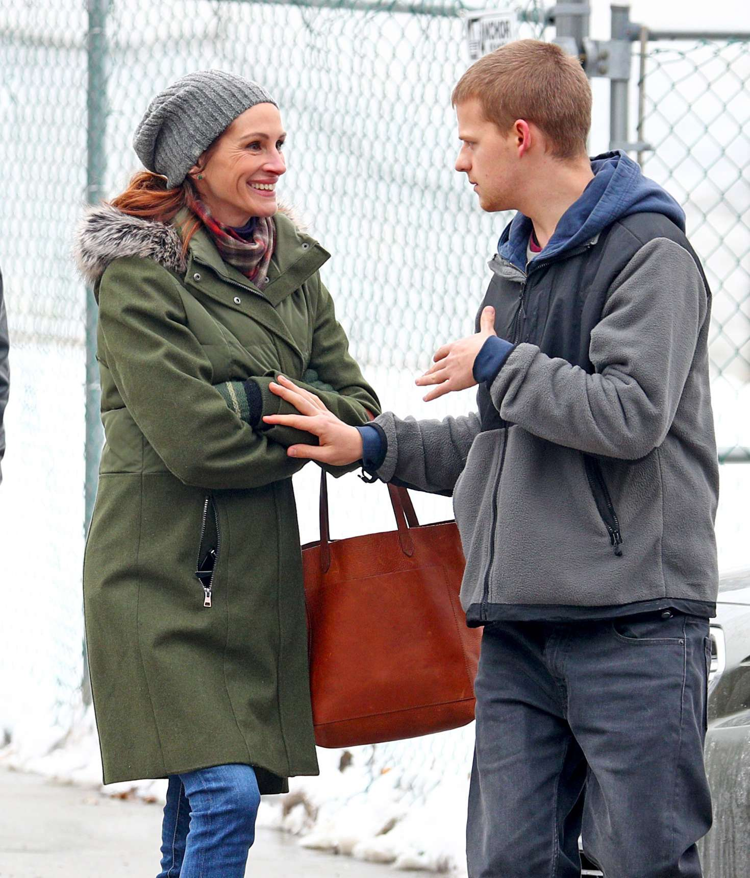 Julia Roberts and Lucas Hedges on the set of 'Ben Is Back' in NY
