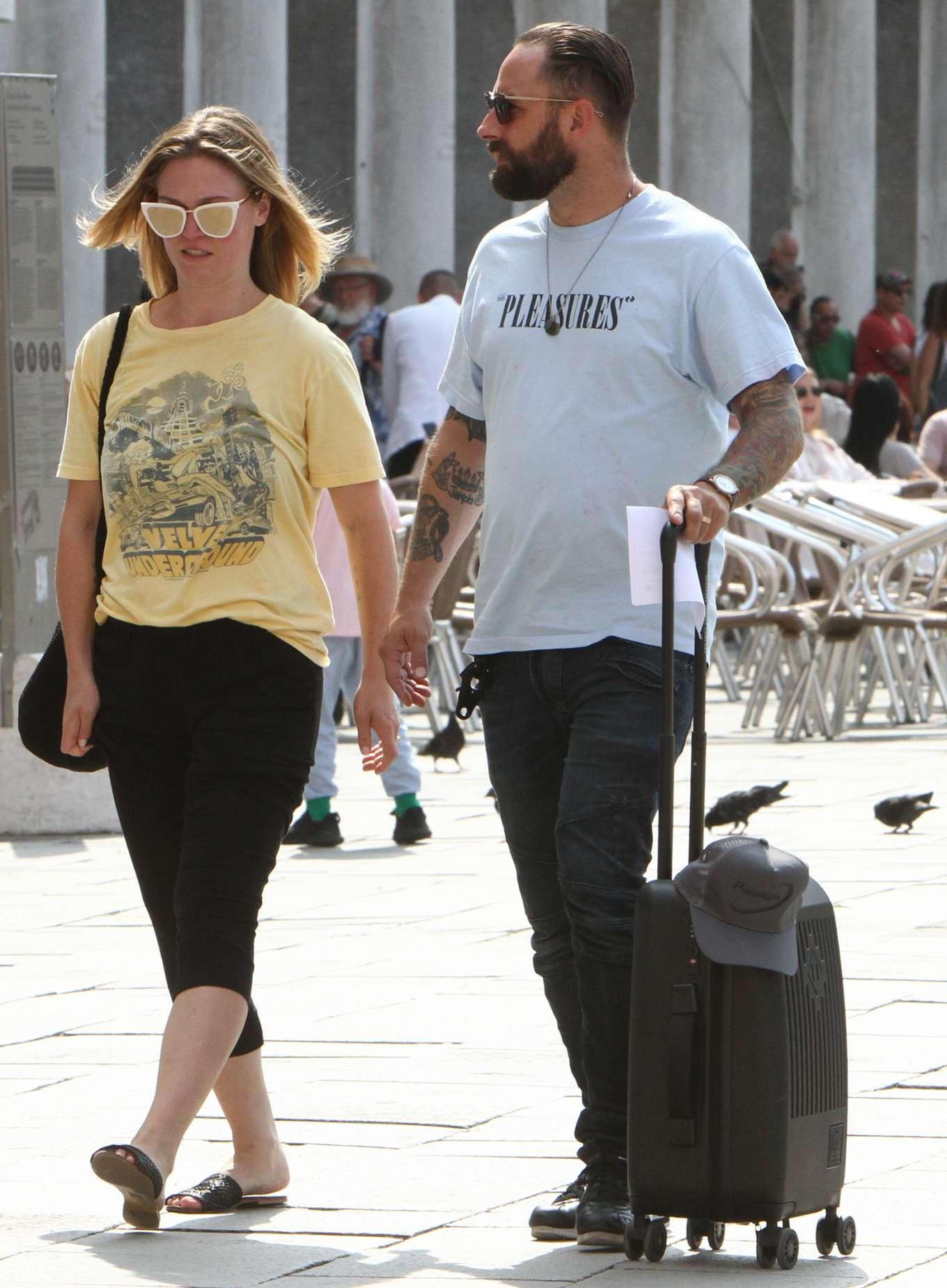 Julia Stiles 2019 : Julia Stiles and her husband Preston J. Cook – Spotted in Venice -01
