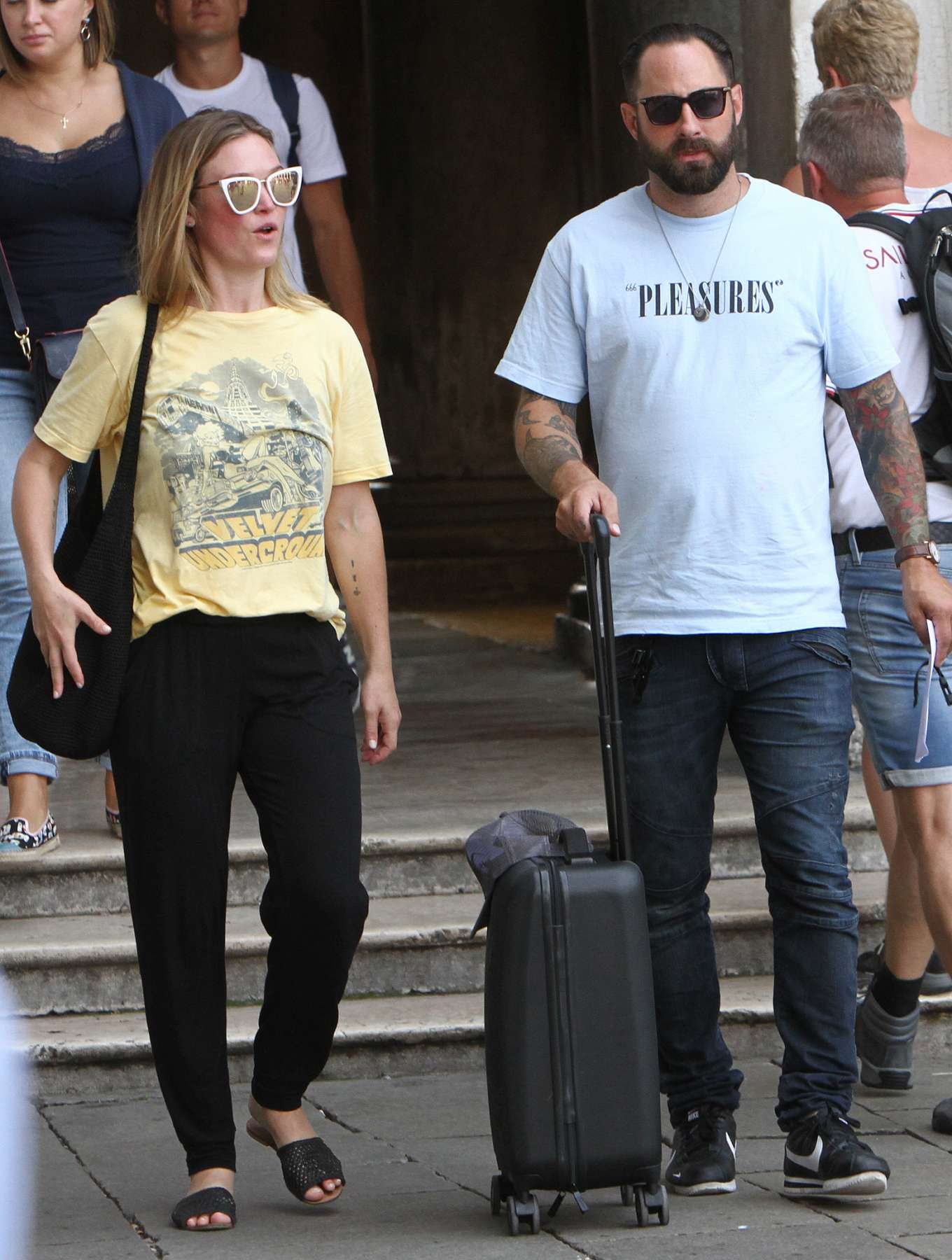 Julia Stiles 2019 : Julia Stiles and her husband Preston J. Cook – Spotted in Venice -03