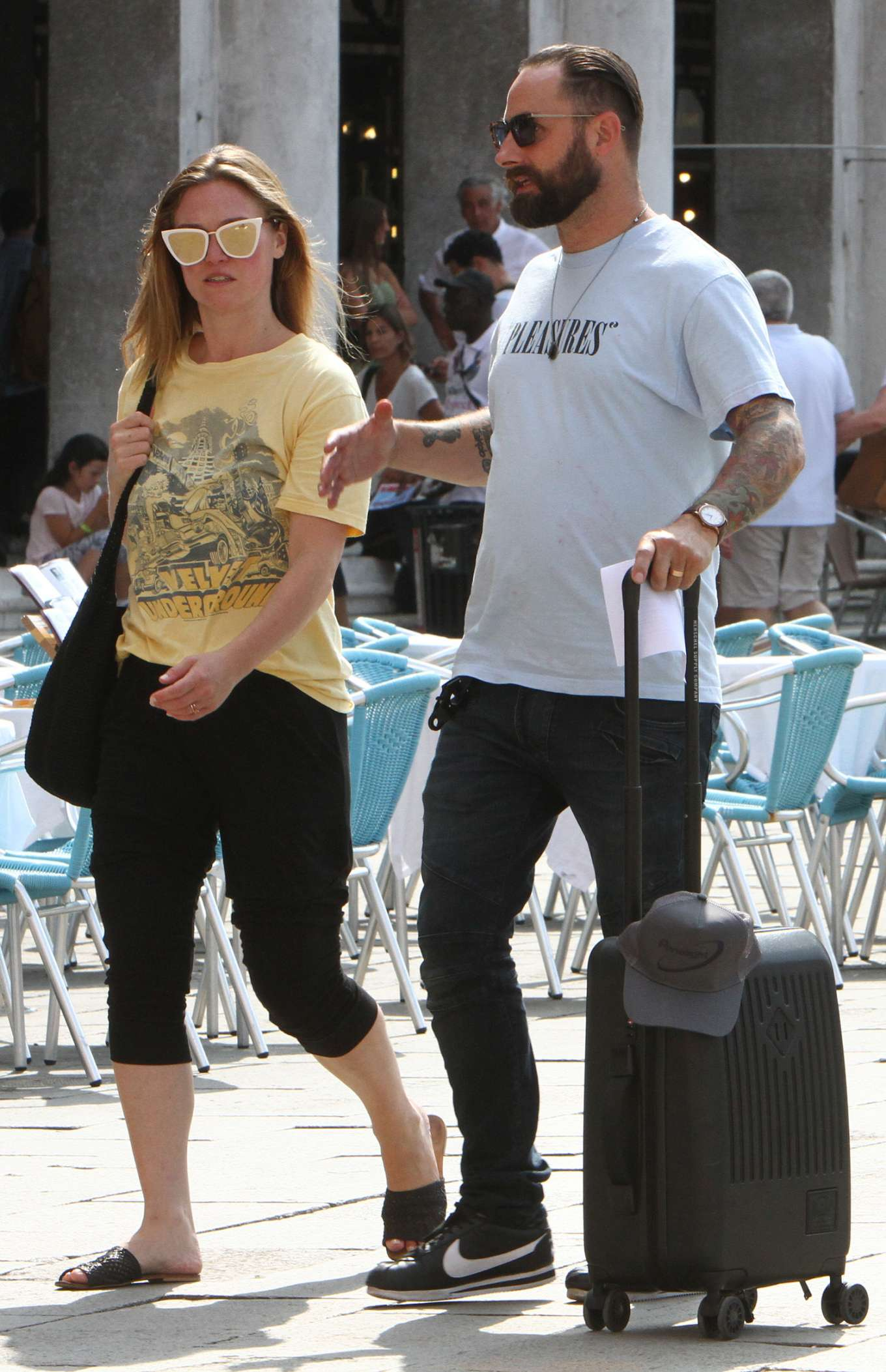 Julia Stiles 2019 : Julia Stiles and her husband Preston J. Cook – Spotted in Venice -08