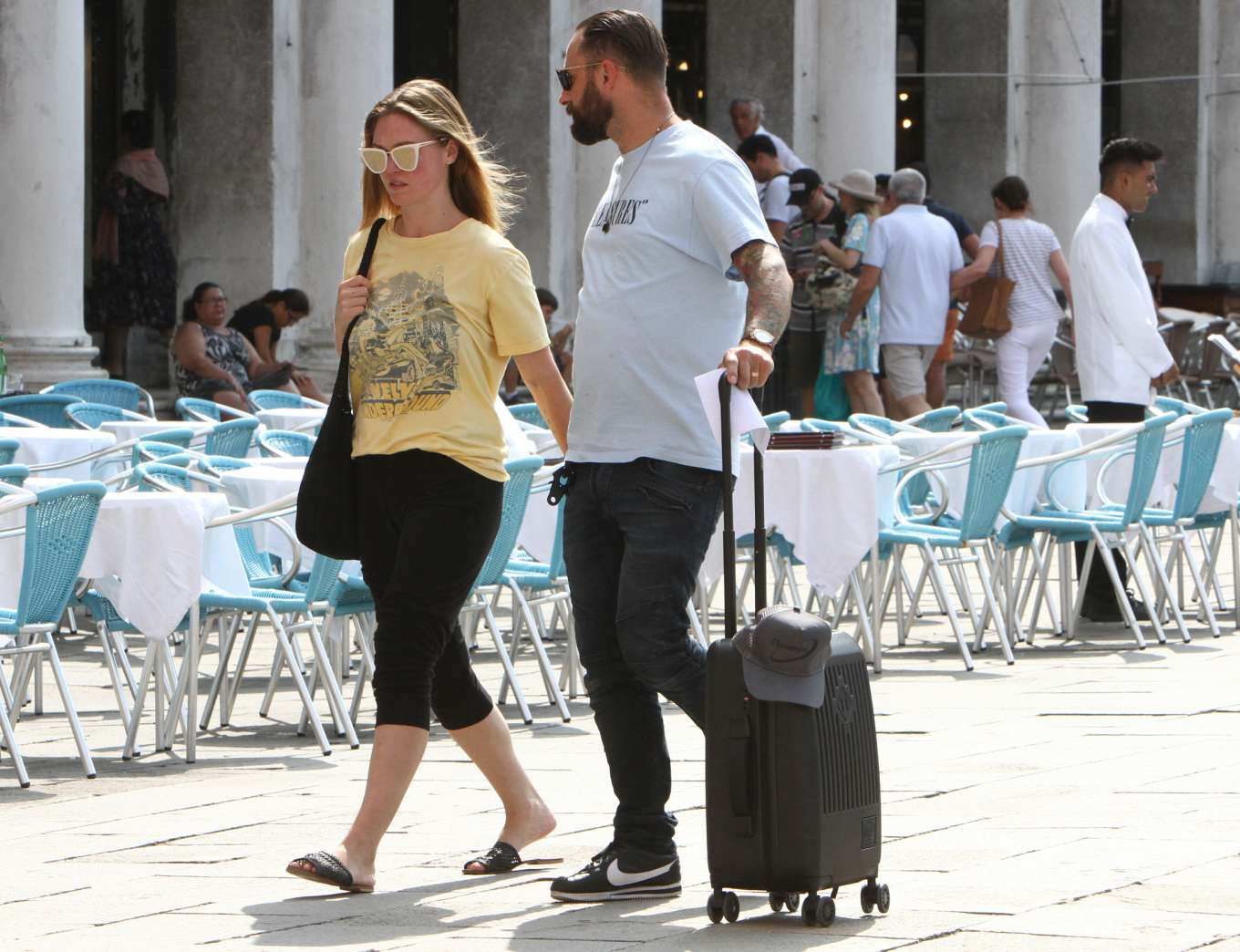 Julia Stiles 2019 : Julia Stiles and her husband Preston J. Cook – Spotted in Venice -10