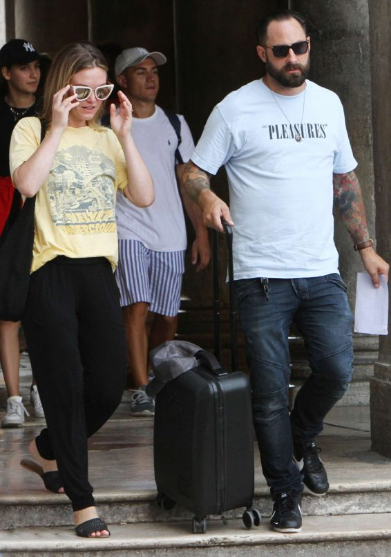 Julia Stiles 2019 : Julia Stiles and her husband Preston J. Cook – Spotted in Venice -16