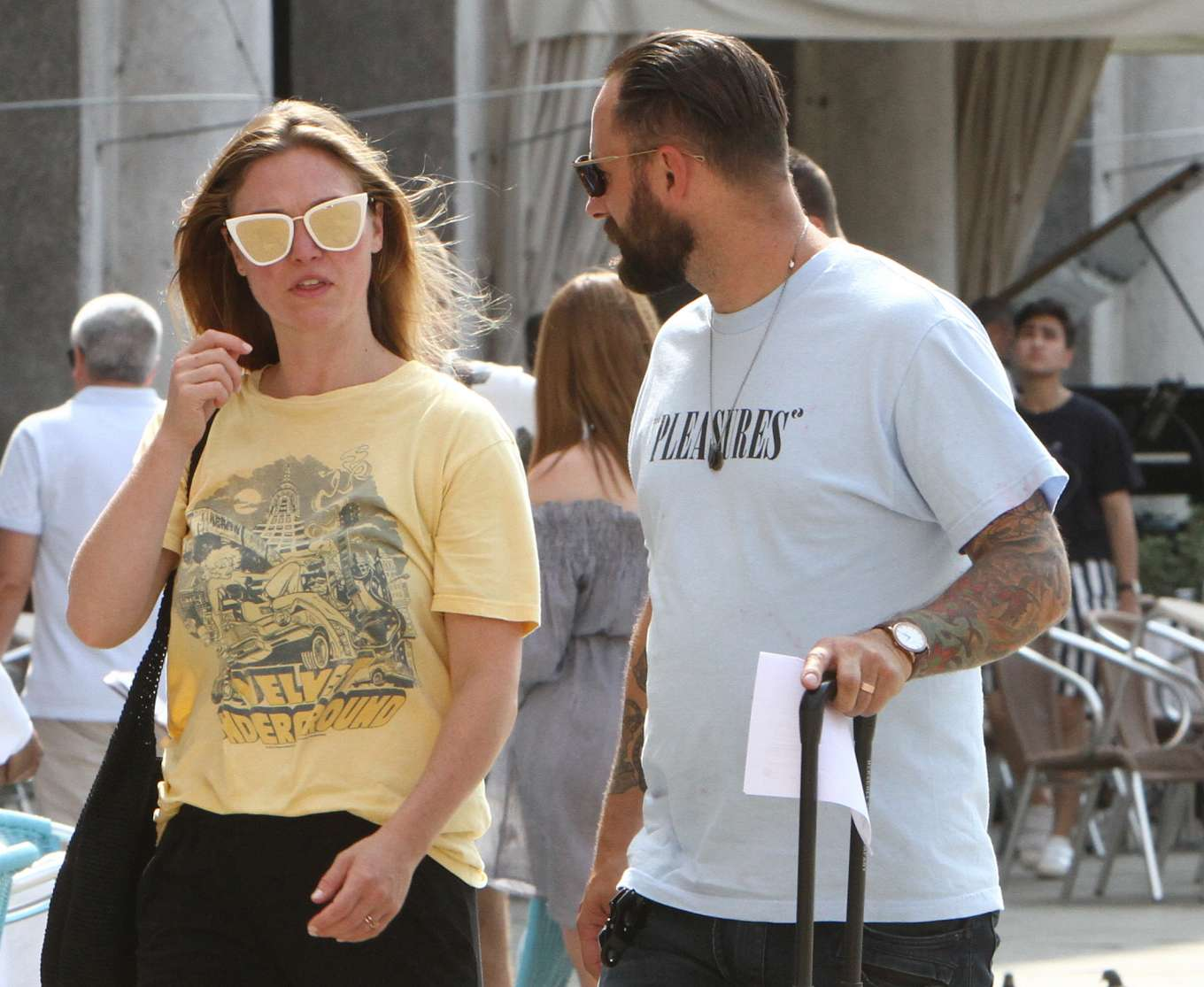 Julia Stiles 2019 : Julia Stiles and her husband Preston J. Cook – Spotted in Venice -19