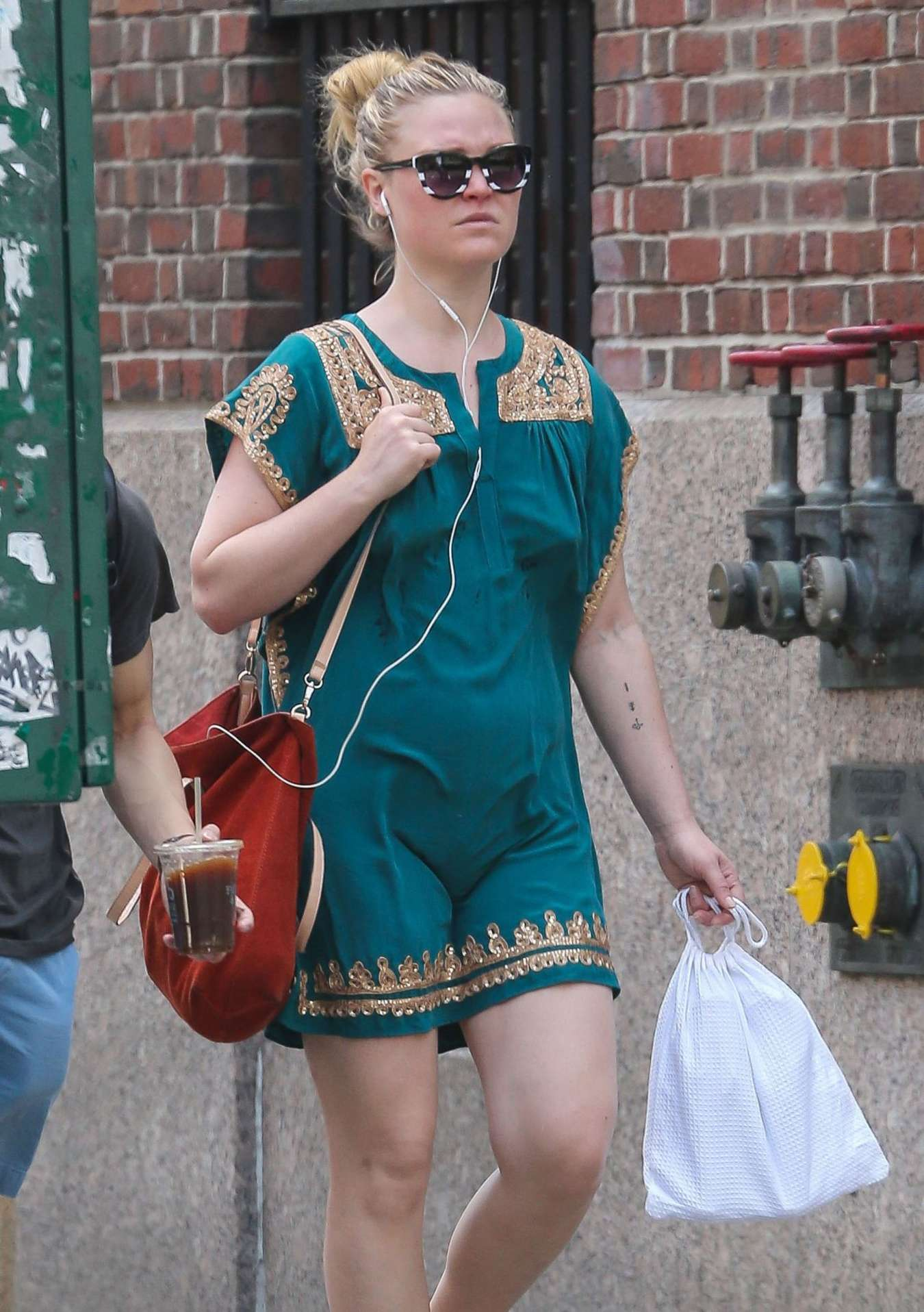 Julia Stiles in Mini Dress Out in New York City