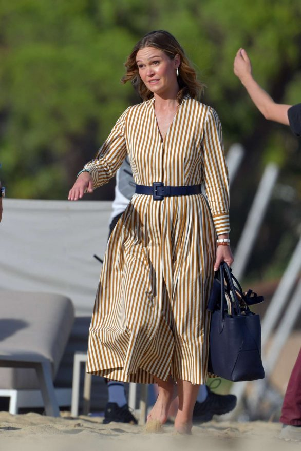 Julia Stiles - On set of 'Riviera' at a beach in St Tropez