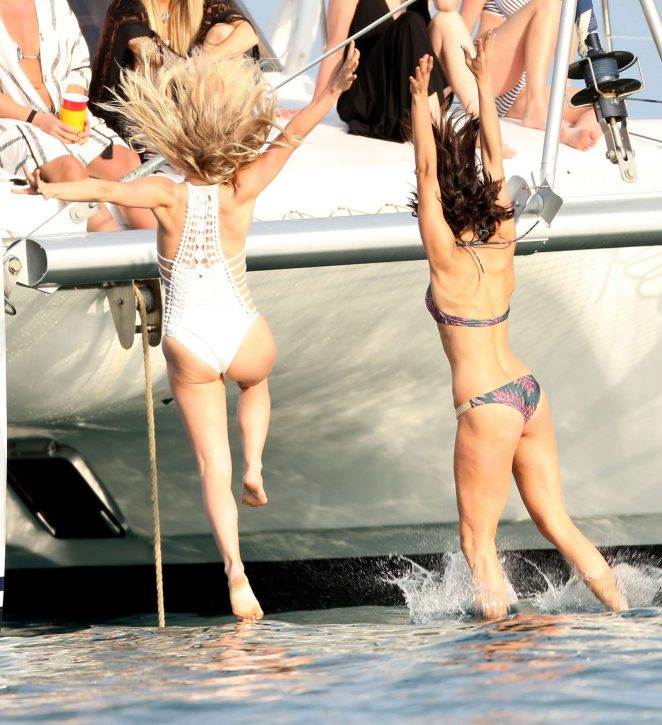 Julianne Hough and Nina Dobrev in Bikini at yacht in Caribbean
