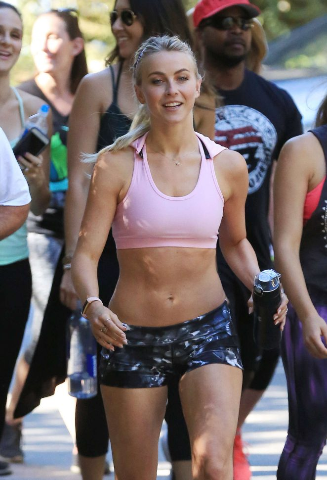 Julianne Hough in Shorts and Sports Bra Hiking at Fryman Canyon Park in LA