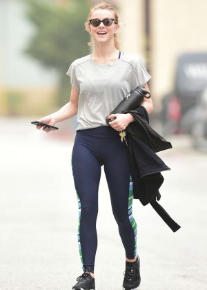 Julianne Hough in Blue Tights - Hits the gym in LA