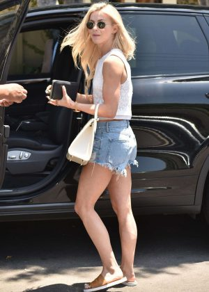 Julianne Hough in Denim Shorts out in West Hollywood