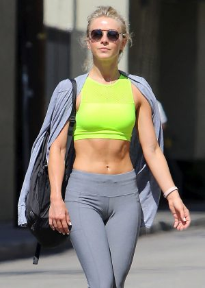 Julianne Hough in Grey Tights Leaving the Gym in Beverly Hills