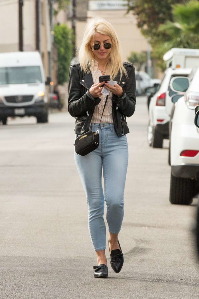 Julianne Hough in Jeans and Leather Jacket - Out in Studio City