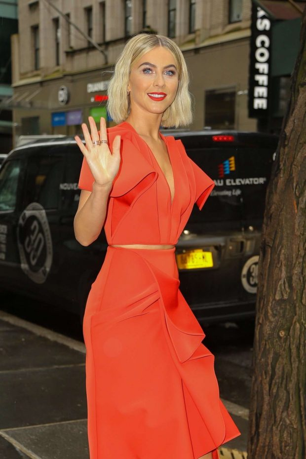 Julianne Hough in Red Dress: Arrives at NBCUniversal Upfront Presentation -21