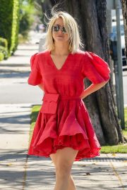 Julianne Hough in Red Dress - Out for errands in Beverly Hills