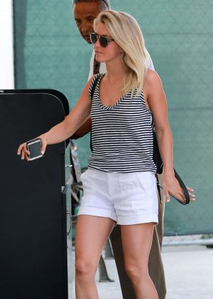 Julianne Hough in Shorts at a salon in Los Angeles