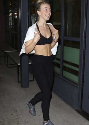 Julianne Hough in Spandex and Sports Bra at Soul Cycle in LA