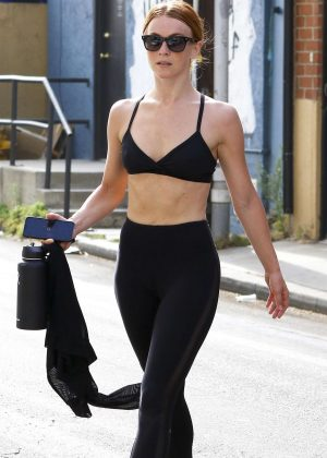 Julianne Hough in Tights and Sports Bra at the Trace Anderson gym in LA