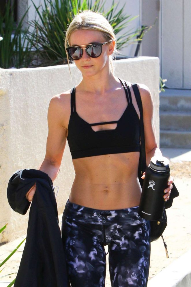 Julianne Hough in Tights and Sports Bra Heading to a gym in LA