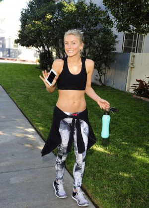 Julianne Hough in Sports Bra and Tights out in LA